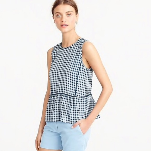 J. Crew Tops - J. Crew Ruffle-hem Silk Top in Gingham
